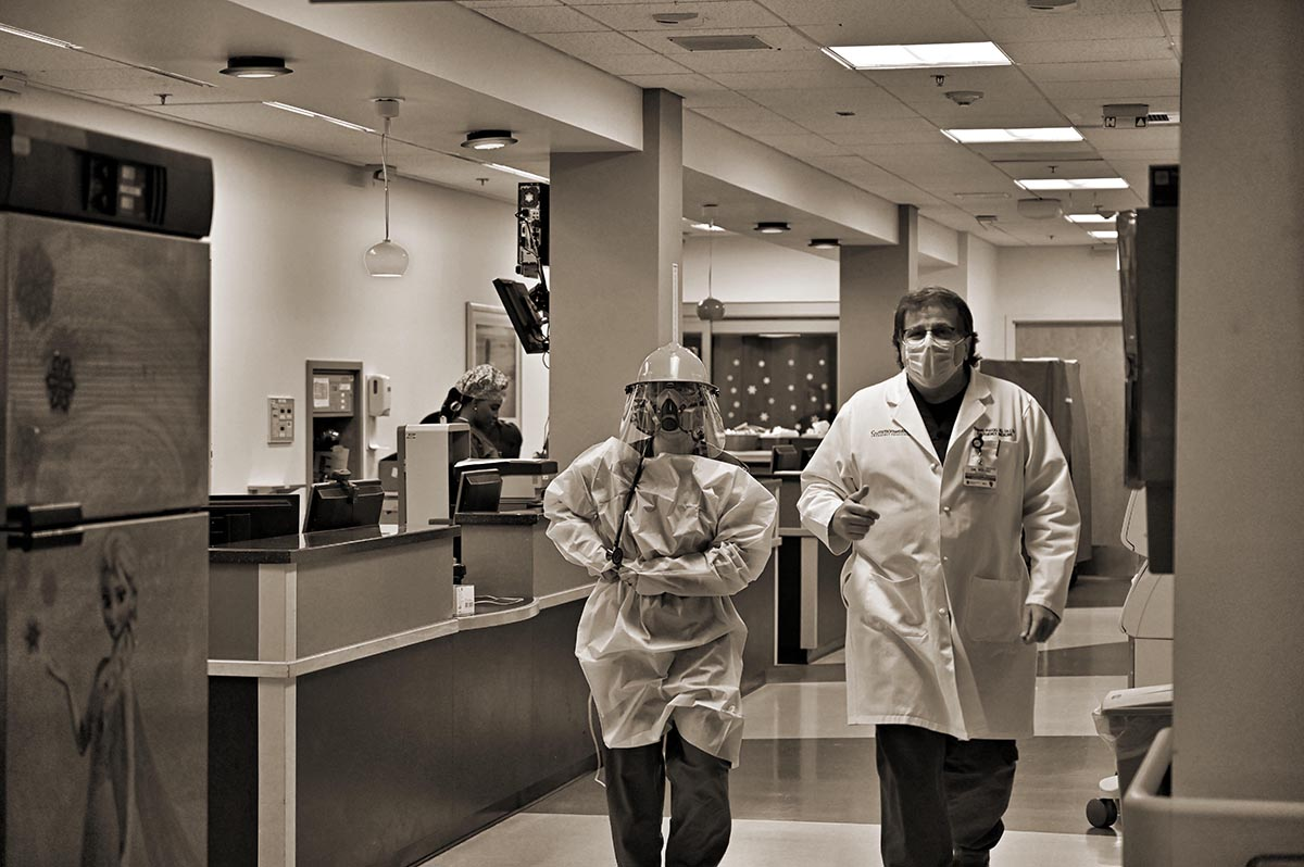 UNITED STATES - May 5, 2020: E.R. Doctor Edward Puccio M.D. works in the COVID 19 respiratory wing of Inova Loudoun Hospital in Leesburg. (Photo By Do